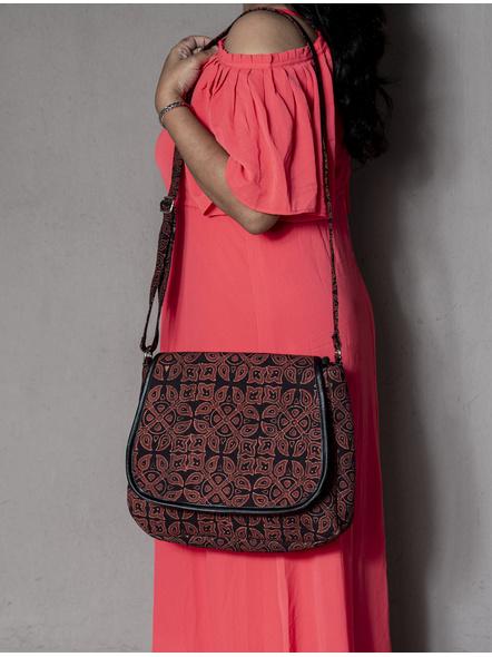 Ajrakh Floral Motif Sling Bag-LAA-SLING-011