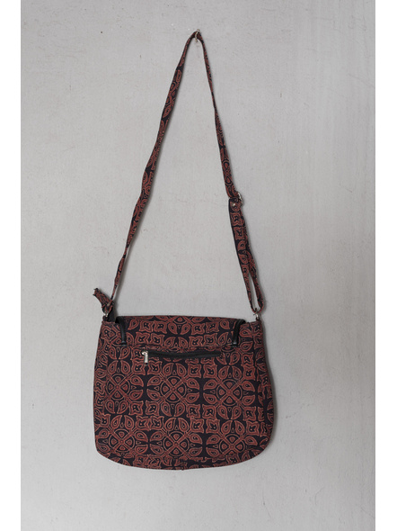 Ajrakh Floral Motif Sling Bag-1