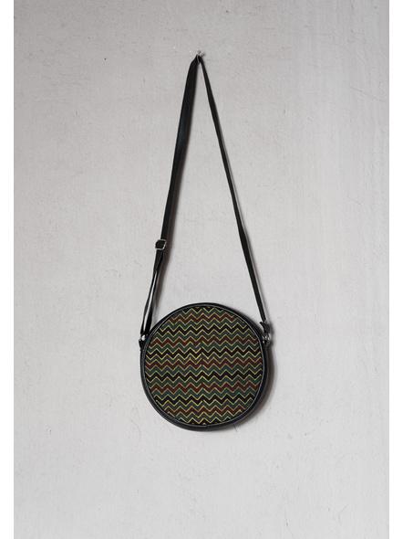 Stylish Circular Moss Green Wavey Ajrakh Sling Bag-LAA-SLING-016