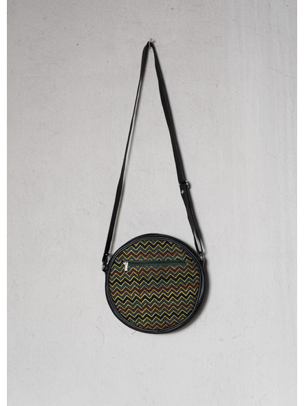 Stylish Circular Moss Green Wavey Ajrakh Sling Bag-1