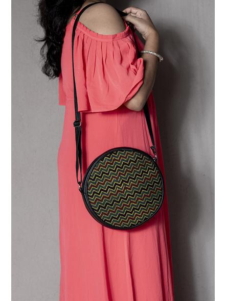 Stylish Circular Moss Green Wavey Ajrakh Sling Bag-2