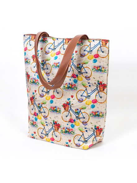Tussar Silk Cycle Tote Bag-LAA-TOTE-002
