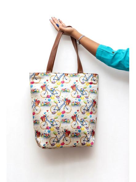 Tussar Silk Cycle Tote Bag-3