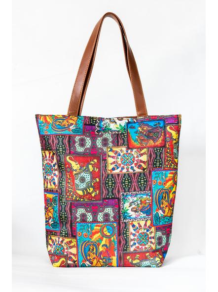 Kalamkari Tussar Silk Tote Bag-1