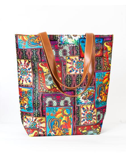 Kalamkari Tussar Silk Tote Bag-2
