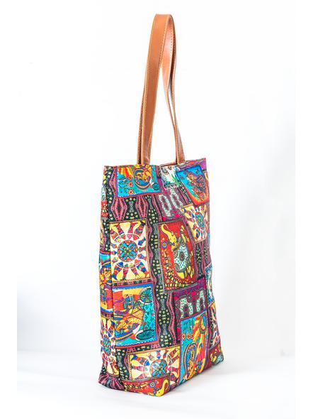 Kalamkari Tussar Silk Tote Bag-3