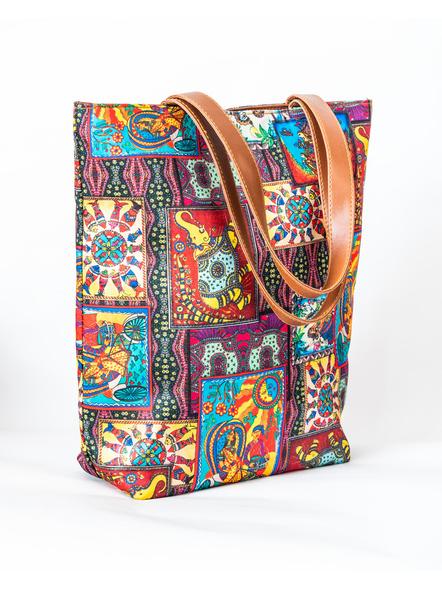 Kalamkari Tussar Silk Tote Bag-4