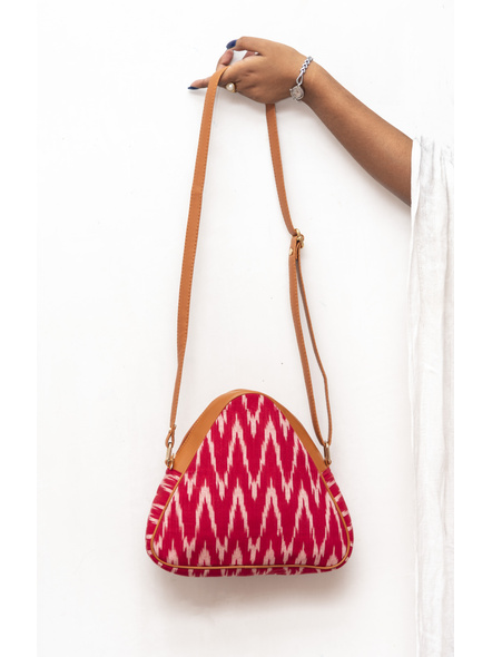 Handcrafted Triangle Red Ikkat Sling Bag-LAAHSB002
