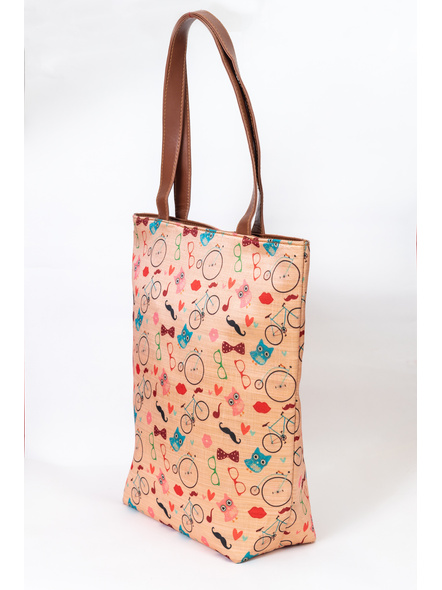 Funky Owl & Cycle Tussar Silk Tote-1