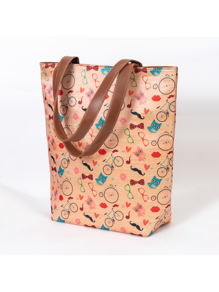 Funky Owl & Cycle Tussar Silk Tote-2