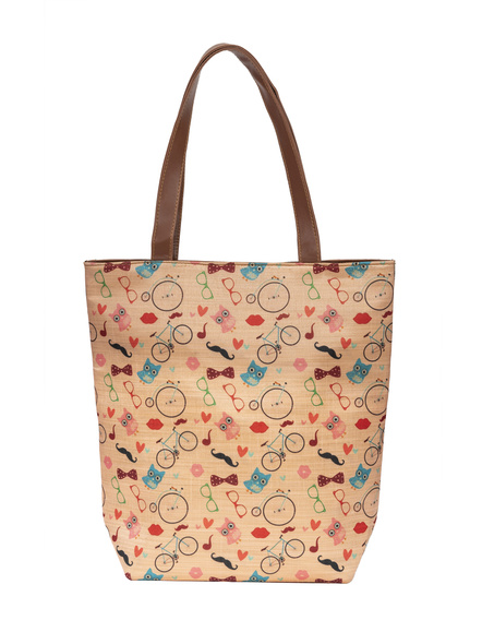 Funky Owl & Cycle Tussar Silk Tote-3