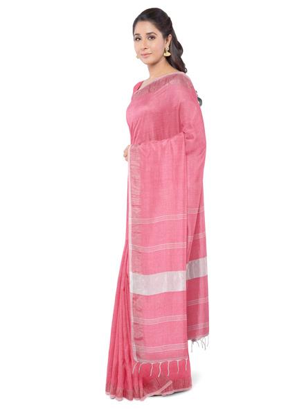 Khadi-Cotton Light Rose Pink Handloom Zari Border Saree-LAA-HS-005