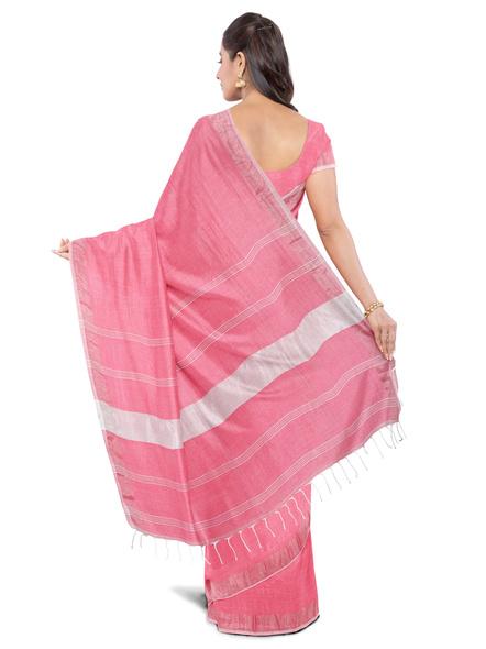 Khadi-Cotton Light Rose Pink Handloom Zari Border Saree-2