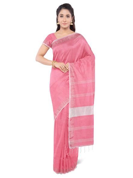 Khadi-Cotton Light Rose Pink Handloom Zari Border Saree-3