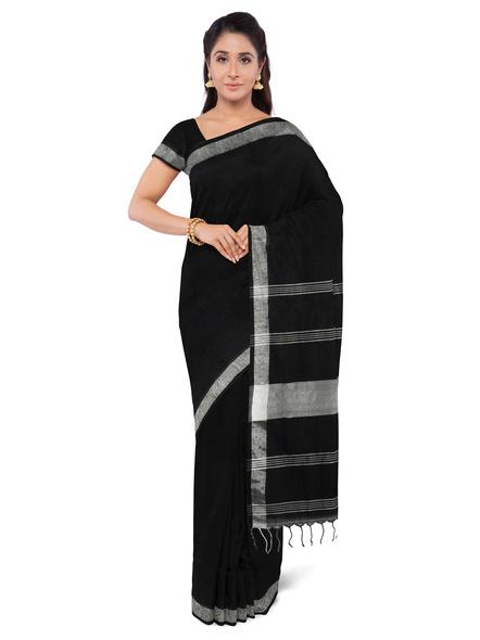 Khadi-Cotton Black Handloom Zari Border Saree-LAAKCHS003