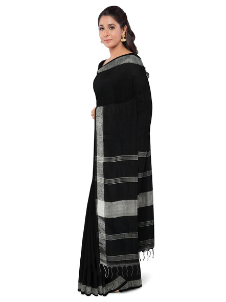 Khadi-Cotton Black Handloom Zari Border Saree-1