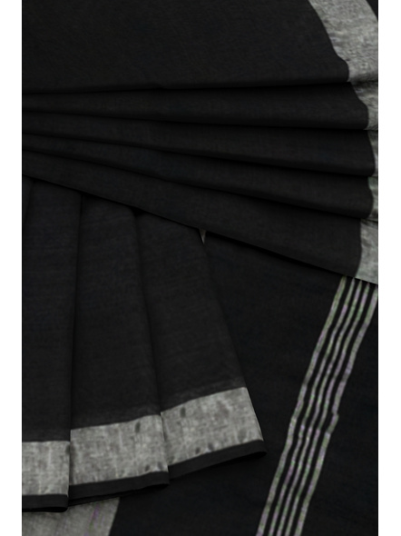 Khadi-Cotton Black Handloom Zari Border Saree-2