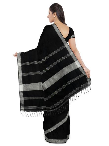 Khadi-Cotton Black Handloom Zari Border Saree-3