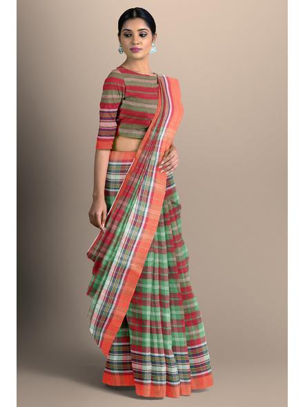 Red Green Handloom Cotton Saree-LAA-HS-006