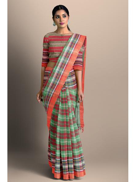 Red Green Handloom Cotton Saree-1