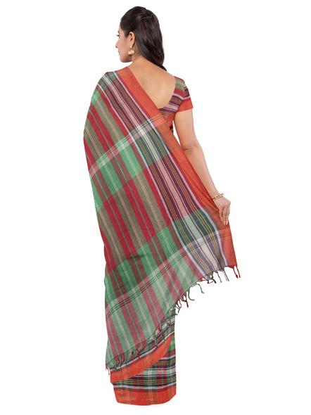 Red Green Handloom Cotton Saree-2