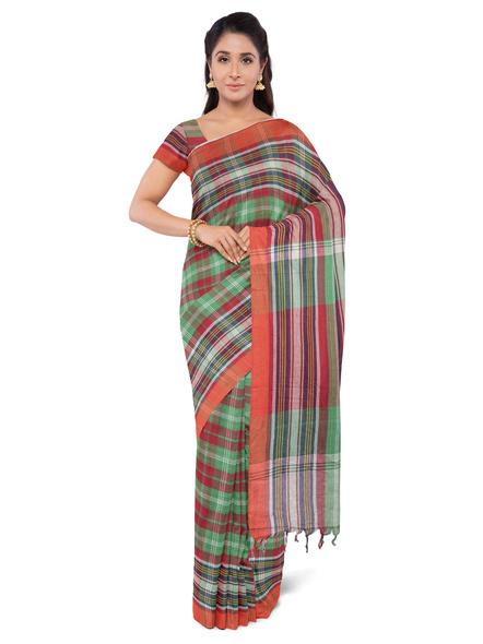 Red Green Handloom Cotton Saree-3