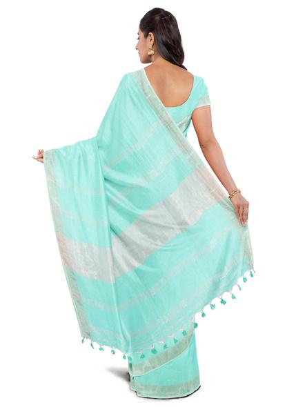 Khadi-Cotton Teal Green Handloom Zari Border Saree-2