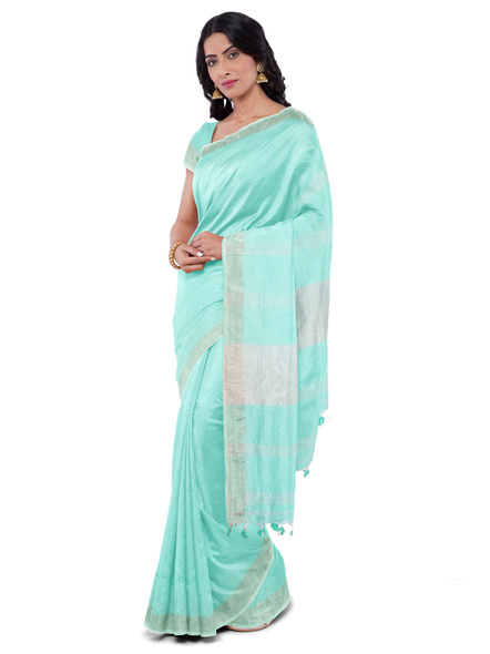 Khadi-Cotton Teal Green Handloom Zari Border Saree-3