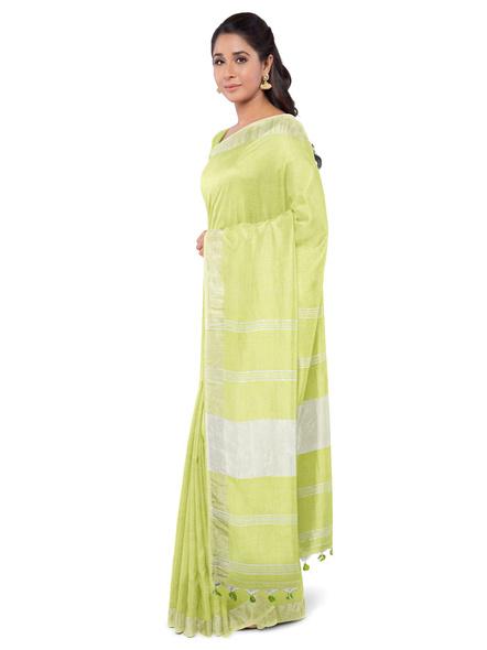 Khadi-Cotton Lime Green Handloom Zari Border Saree-LAA-HS-004