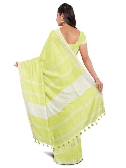 Khadi-Cotton Lime Green Handloom Zari Border Saree-1