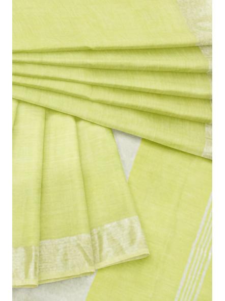 Khadi-Cotton Lime Green Handloom Zari Border Saree-2