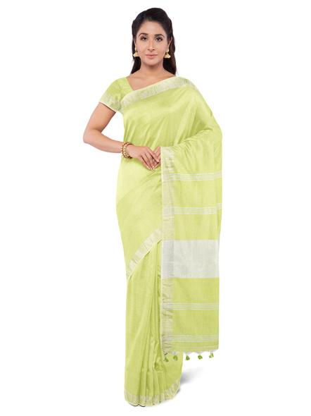 Khadi-Cotton Lime Green Handloom Zari Border Saree-3