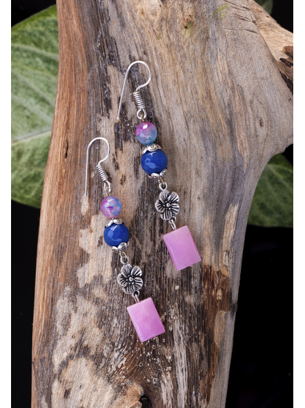Handmade Onyx Jade German Silver Flower Charm with Rose Quartz Earrings-1
