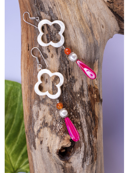Handcrafted Floral Frame Mother of Pearl with Agate Pink Drop Dangler Earrings-1