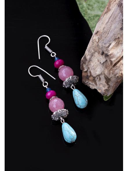 Onyx Jade Rose Quartz Turquoise with German Silver Bead Earrings-1