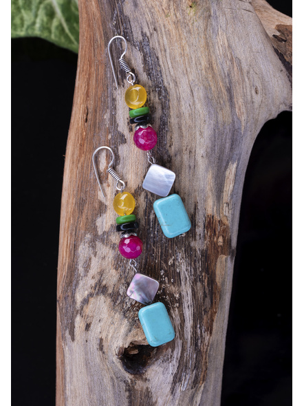 Jade Onyx Agate with Mother of Pearl & Turquoise Earrings-1