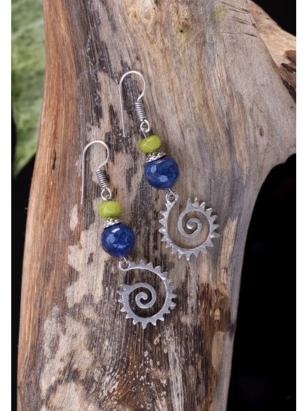 Handcrafted Jade Agate German Silver Spiral Charm Earrings-1