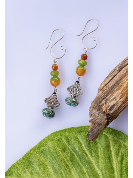 Jade Onyx with German Silver & Turquoise Dangler Earrings-1