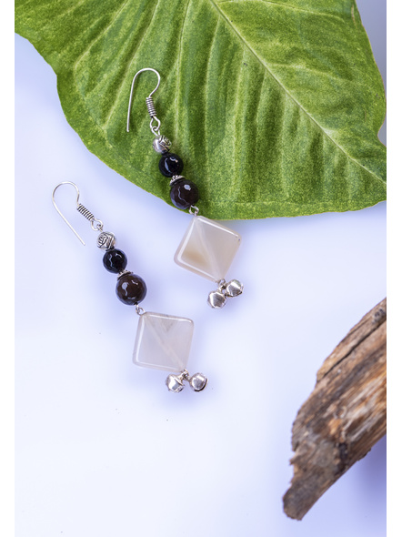 Handcrafted Harmony in Black and White - Agate , Onyx , German Silver, Ghungoor Earrings-1