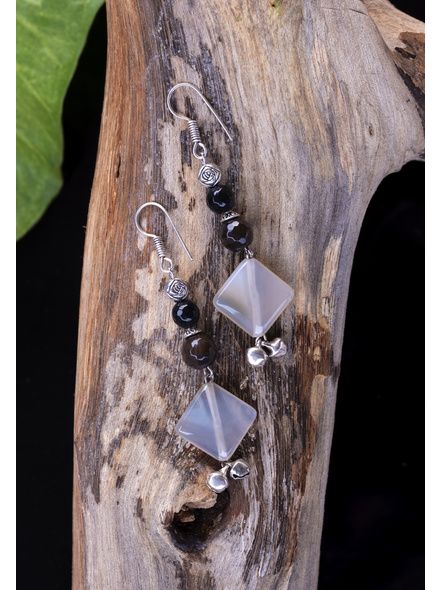 Handcrafted Harmony in Black and White - Agate , Onyx , German Silver, Ghungoor Earrings-2