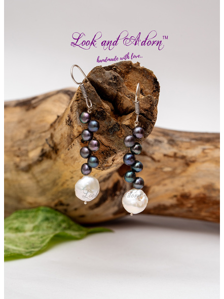 Coin Pearl with Button Pearl Earring-LAA-ER-036