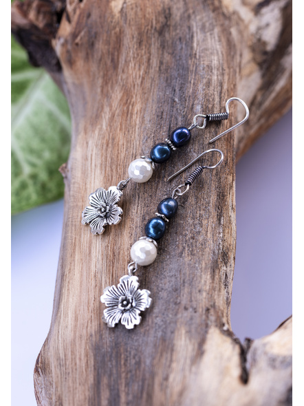 Handcrafted Sea Shell Pearl Earring with Floral German Silver Charm-1
