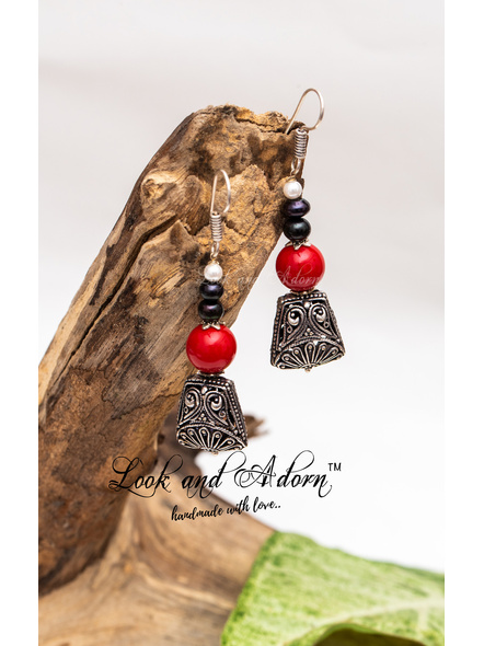 Handcrafted German Silver Designer Dangler with Red Coral & Fresh Water Pearl Earring-LAA-ER-038