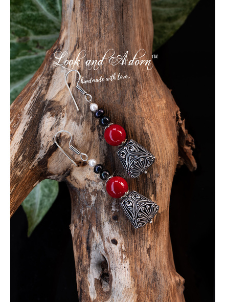 Handcrafted German Silver Designer Dangler with Red Coral & Fresh Water Pearl Earring-Silver-German Silver-Adult-Female-7cm-1