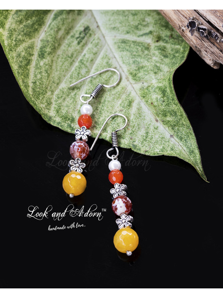 Handcrafted Semi Precious Agate with Pearl Dangler Earring-LAA-ER-034