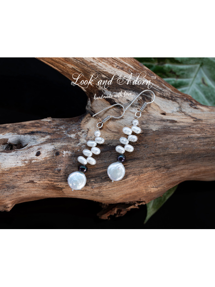 Handcrafted Coin Pearl with Fresh Water Pearl Earring-White-Pearl-Adult-Female-5.9cm-1