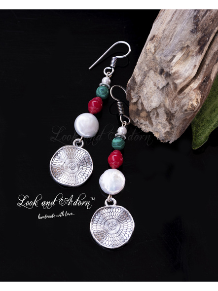 Handcrafted Coin Pearl Dangler with Coral Malachite & German Silver Lotus Leaf Charm-LAA-ER-033