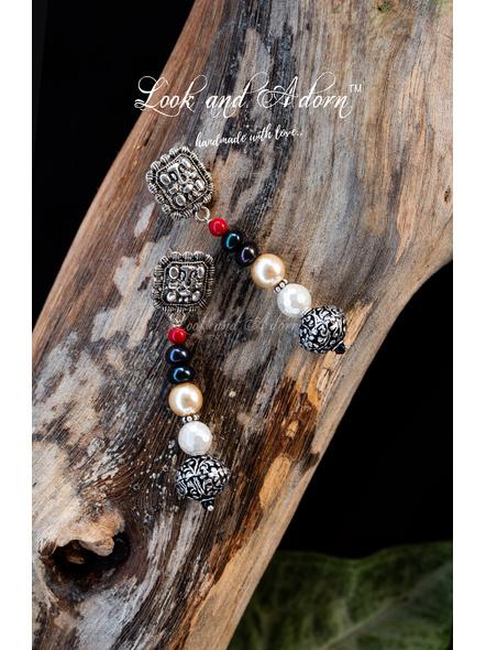 Harmony of Pearls Ganesha Stud Dangler Earring-Silver-German Silver-Adult-Female-7cm-1