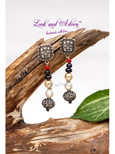 Harmony of Pearls Ganesha Stud Dangler Earring-LAA-ER-040