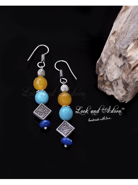 Handcrafted Semi Precious Agate with German Silver Earrings-LAA-ER-031